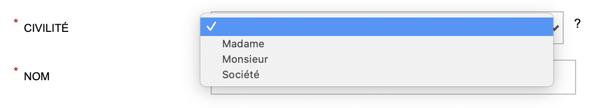 exemple - liste déroulante - 3 options