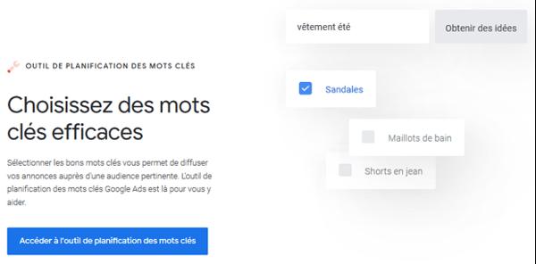 Capture d'écran de Google Keyword Planner