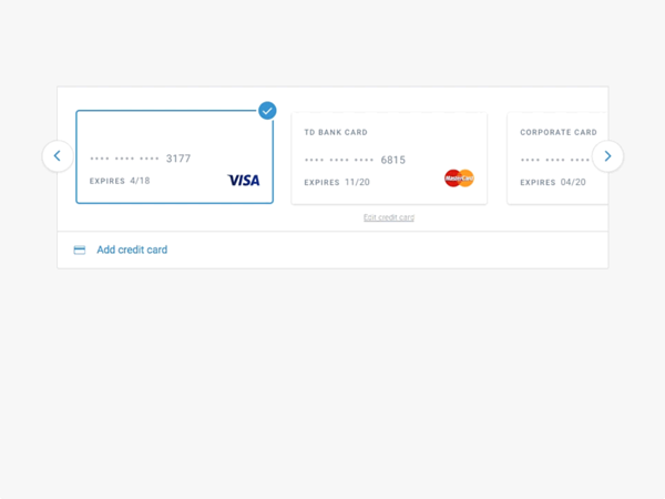 Capture d'écran illustrant la visualisation des différentes cartes de crédit préenregistrées