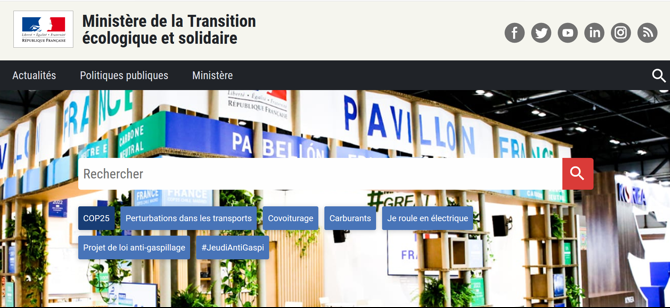 Capture d'écran du site ecologique-solidarite.gouv.fr sur desktop