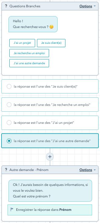 exemple paramétrage chatbot