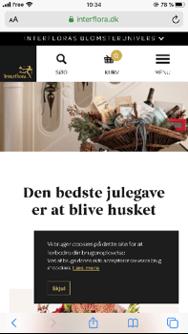 Capture d'écran du site interflora.dk sur mobile