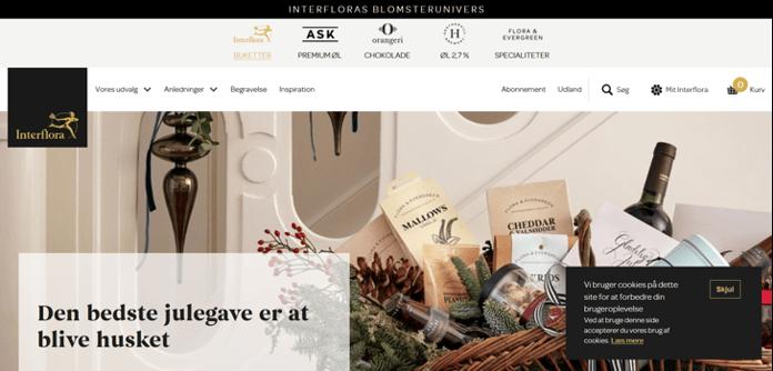 Capture d'écran du site interflora.dk sur desktop