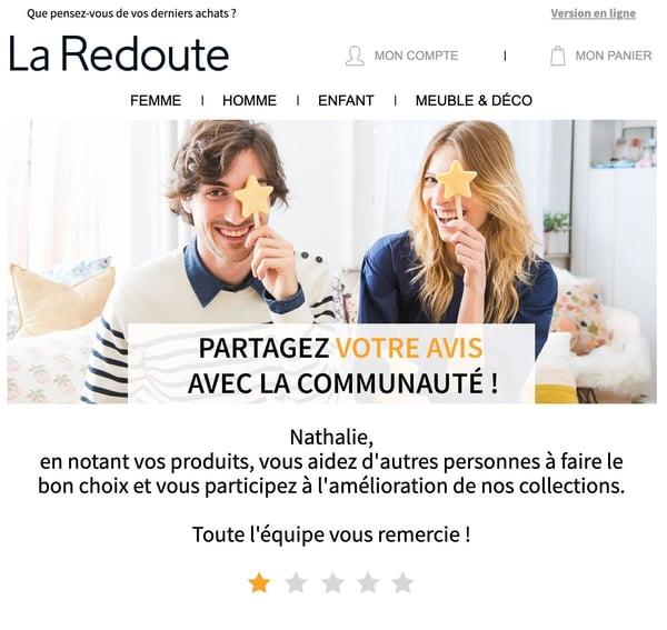 mail relance avis clients - exemple de La Redoute