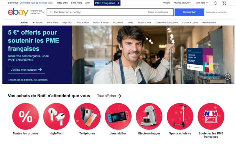 Exemple de marketplace généraliste : ebay