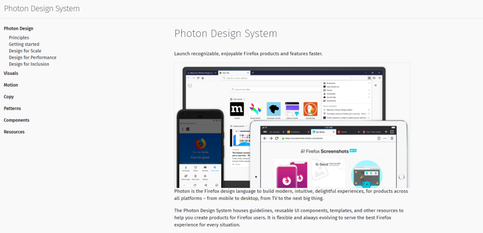 Capture d'écran du Photon Design System