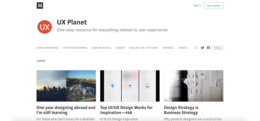 Capture d'écran d'UX Planet