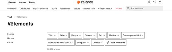 Page catégorie Zalando