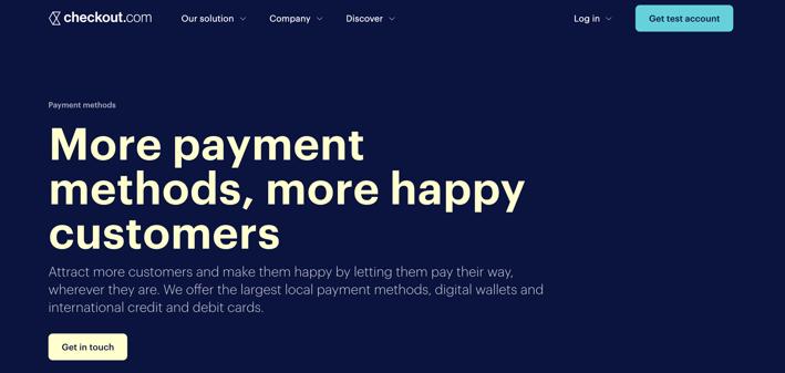 page d'accueil checkout.com