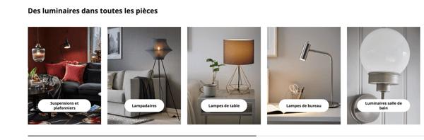 page catégorie luminaires Ikea