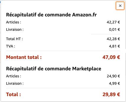 Détail du montant de la commande - Exemple d'Amazon